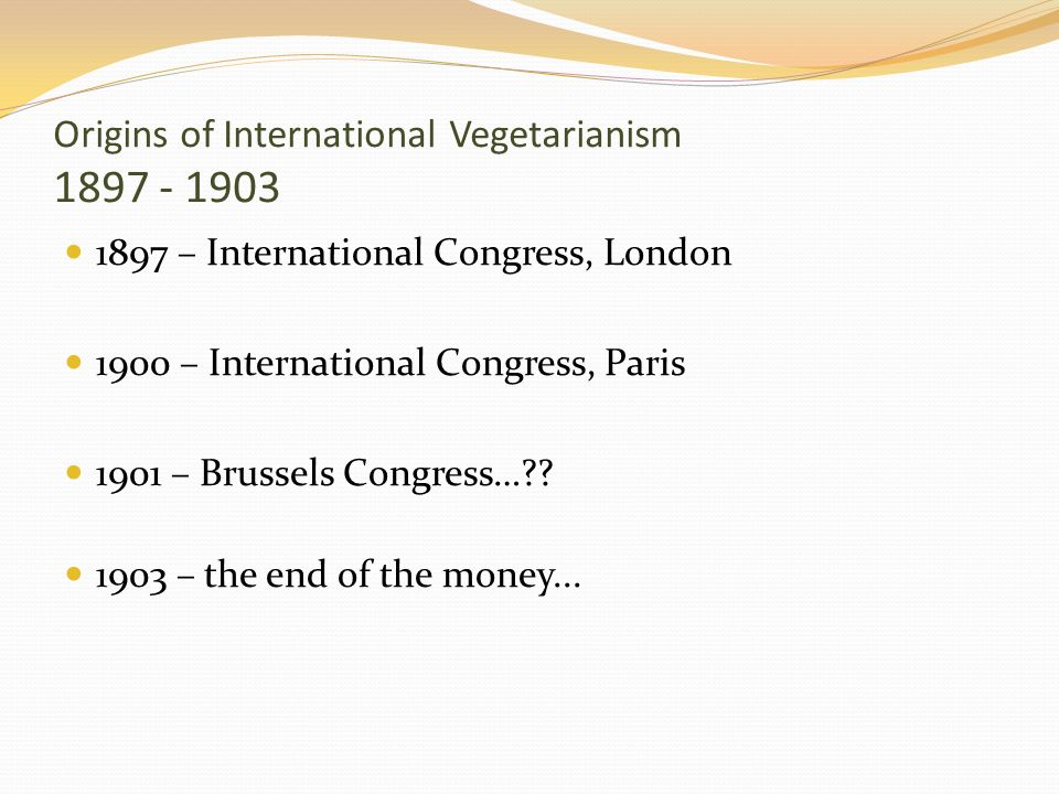Origins of International Vegetarianism 1897 - 1903