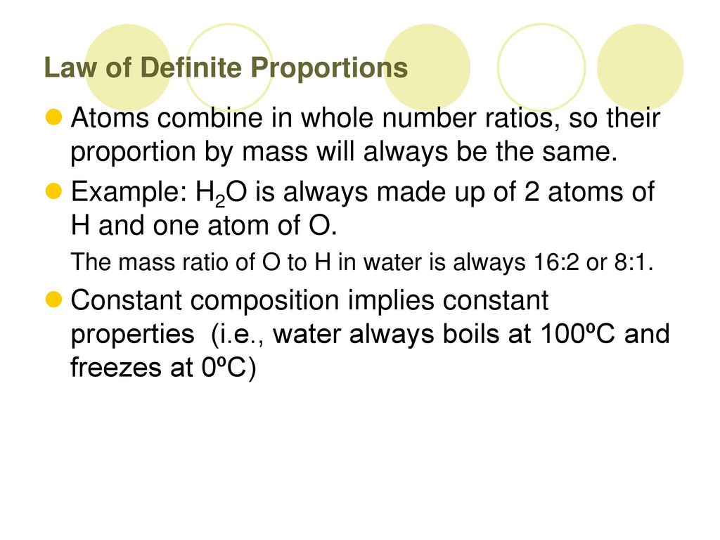 Law Of Definite Composition And Law Of Multiple Proportions Ppt