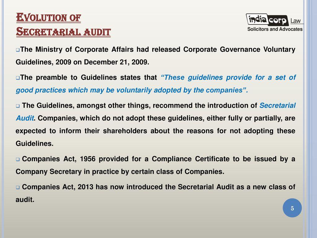 Secretarial Audit Presentation By A K Kuchhal Managing Partner