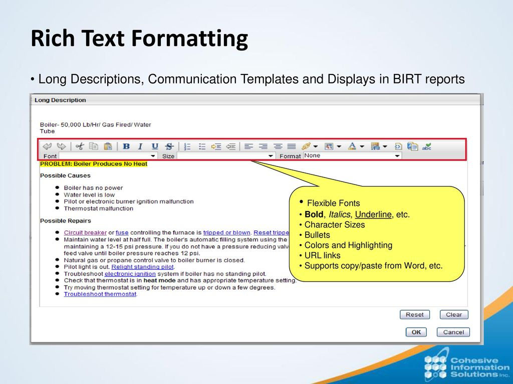 Maximo 75 product update july 8 ppt download rich text formatting long descriptions communication templates and displays in birt reports flexible fonts maxwellsz