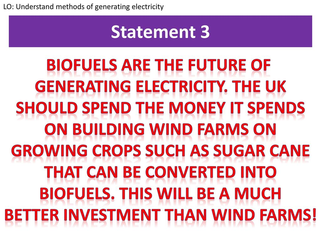 Methods Of Generating Electricity Ppt Video Online Download Gcserevision Physics Statement 3 Biofuels Are The Future Uk