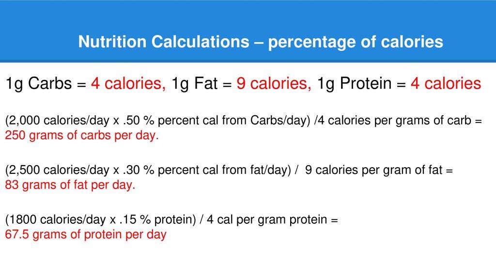 nutrition calculations calories per gram