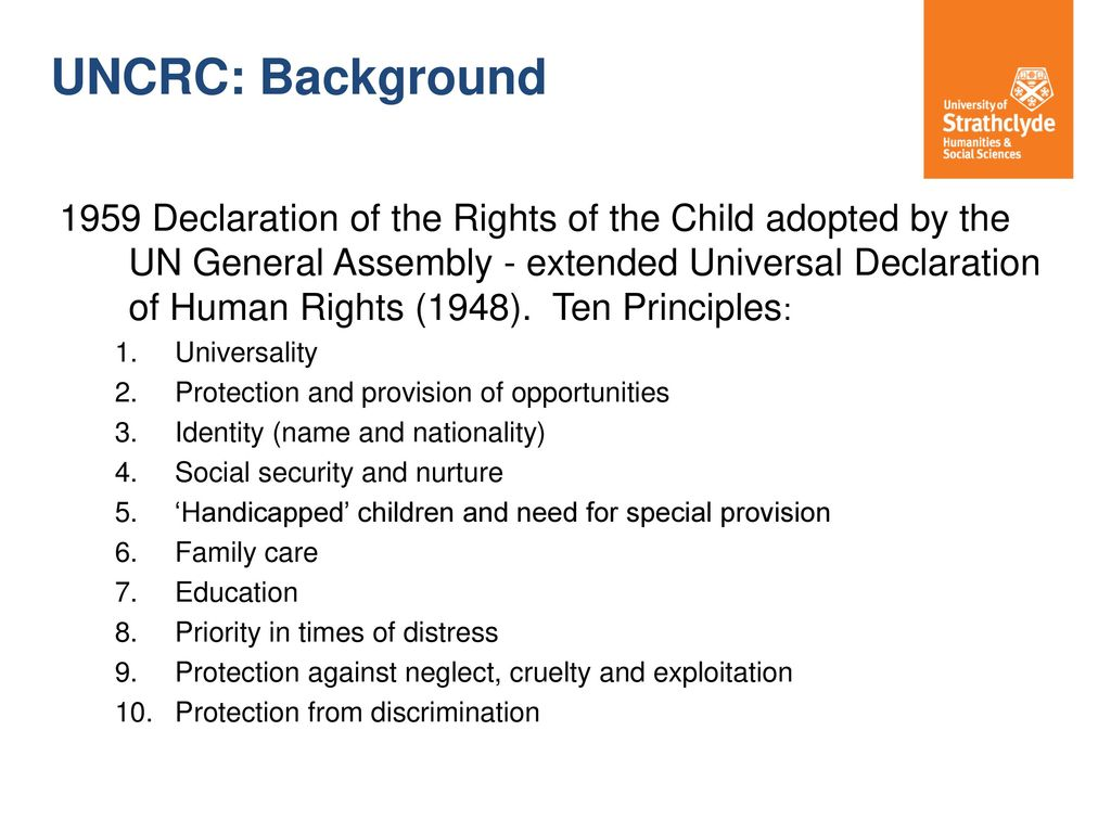 Principles of the Declaration of the Rights of the Child. Declaration of the Rights of the Child, 1959