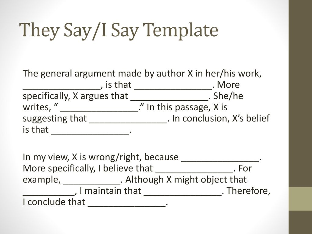 Great They Say I Say Templates Images Gallery Pdf Do Academics