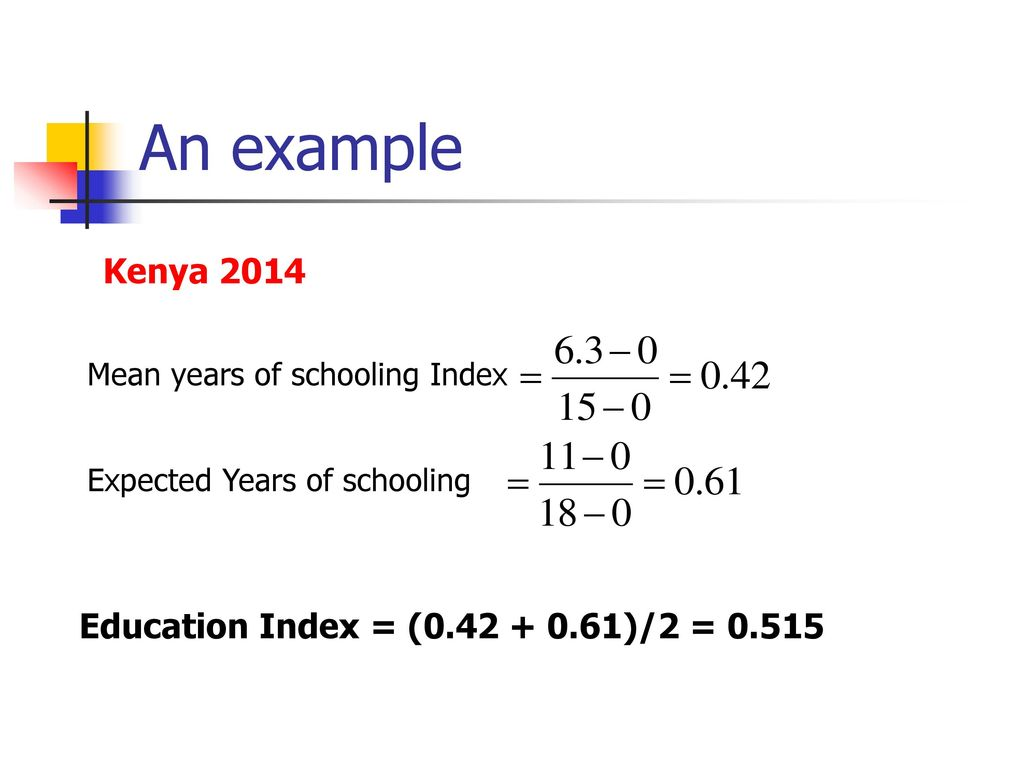 An example Kenya 2014 Education Index = ( )/2 = 0.515