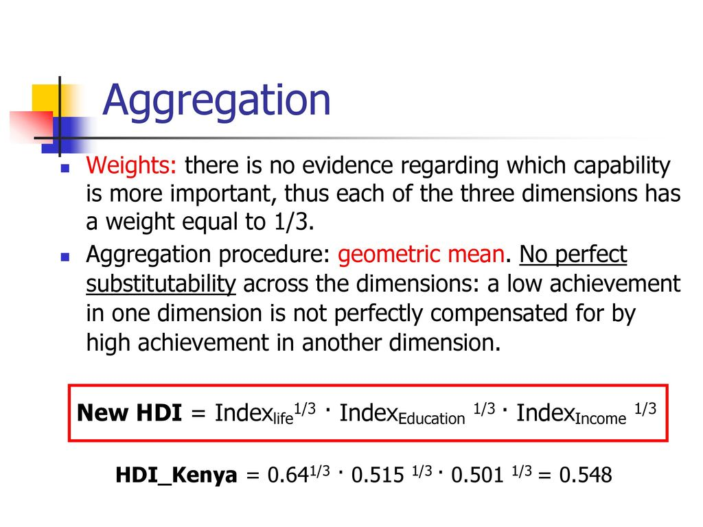 Aggregation Weights: there is no evidence regarding which capability is more important, thus each of the three dimensions has a weight equal to 1/3.