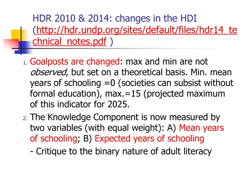 HDR 2010 & 2014: changes in the HDI (  undp