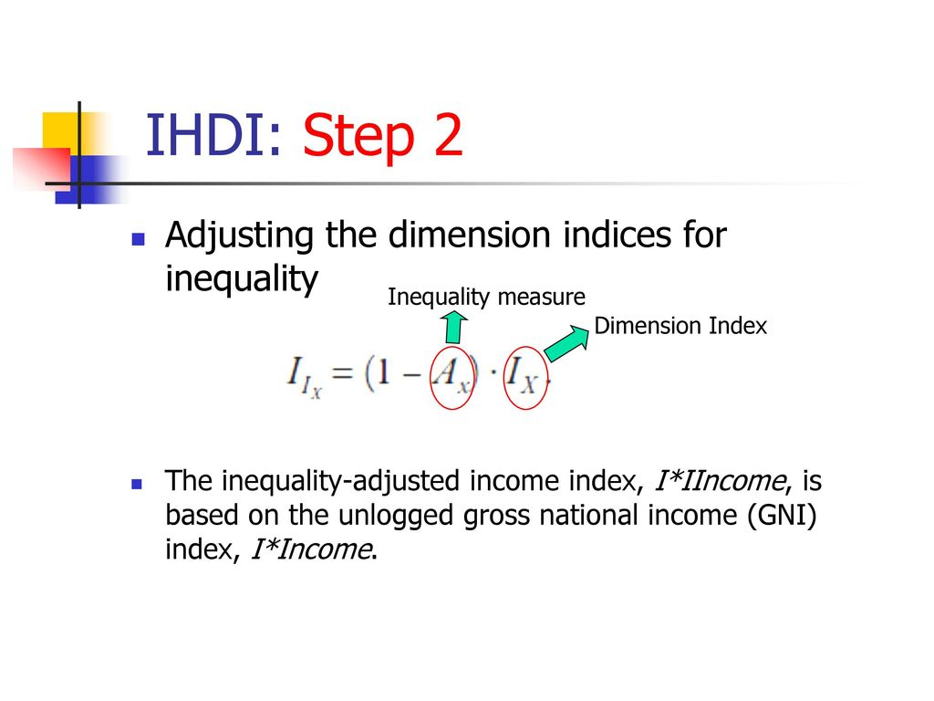 IHDI: Step 2 Adjusting the dimension indices for inequality