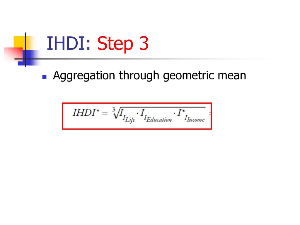 IHDI: Step 3 Aggregation through geometric mean