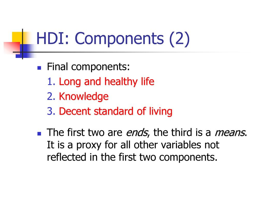 HDI: Components (2) Final components: 1. Long and healthy life