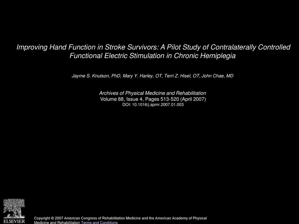 Improving Hand Function in Stroke Survivors: A Pilot Study