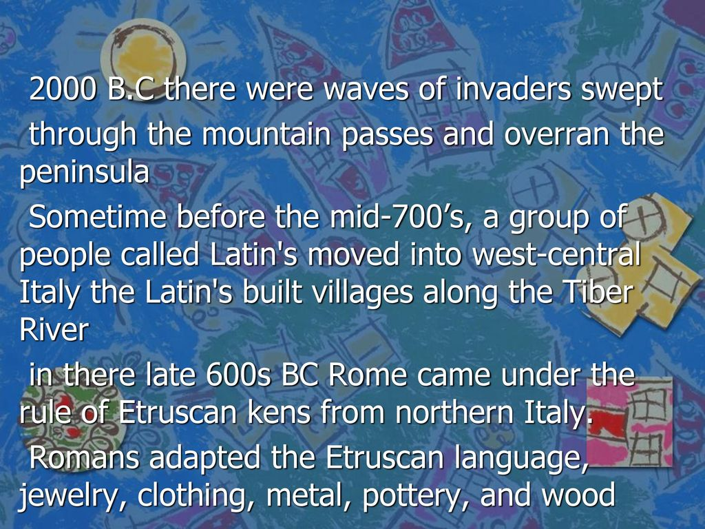 Latins move into italy