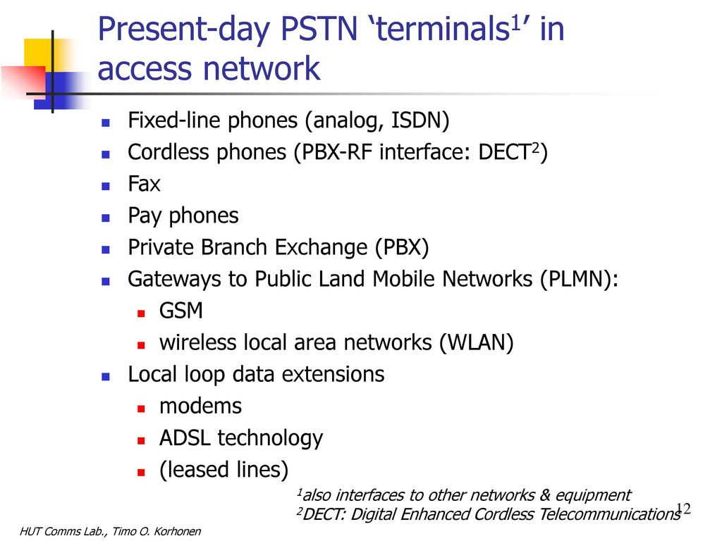 Public Switched Telephone Network Pstn Ppt Download Telecom Hybrid Circuits For Other Equipments Than Telephones 12 Present Day
