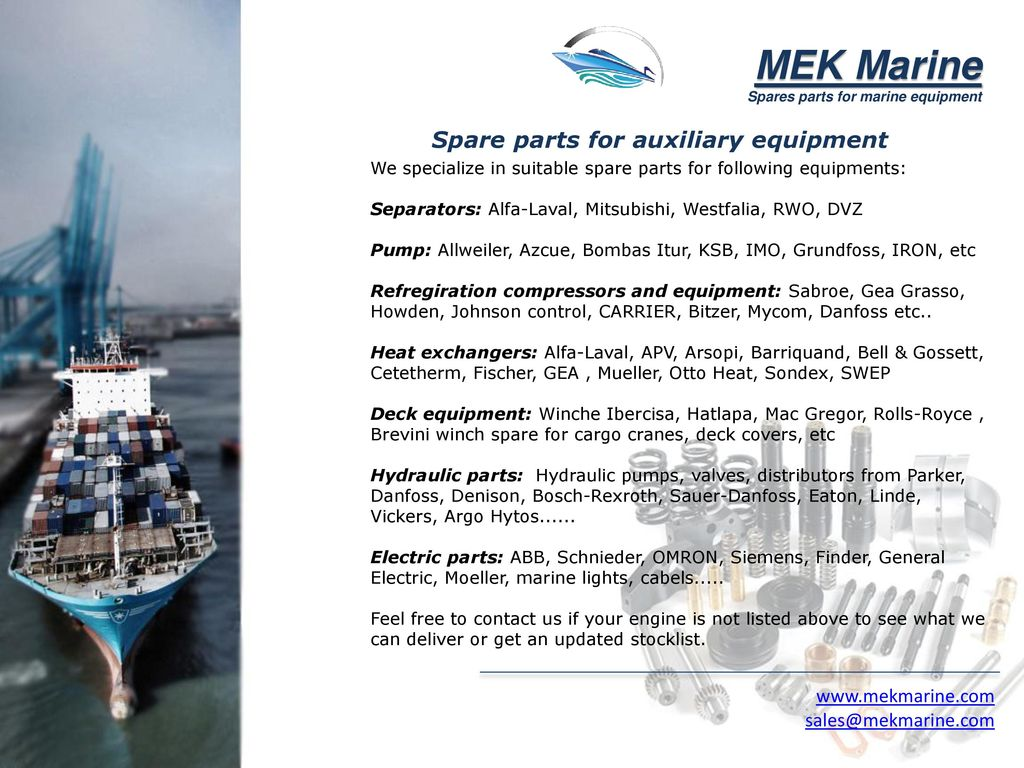 Spares parts for marine equipment - ppt download