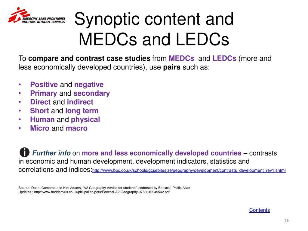 Synoptic Content And MEDCs LEDCs