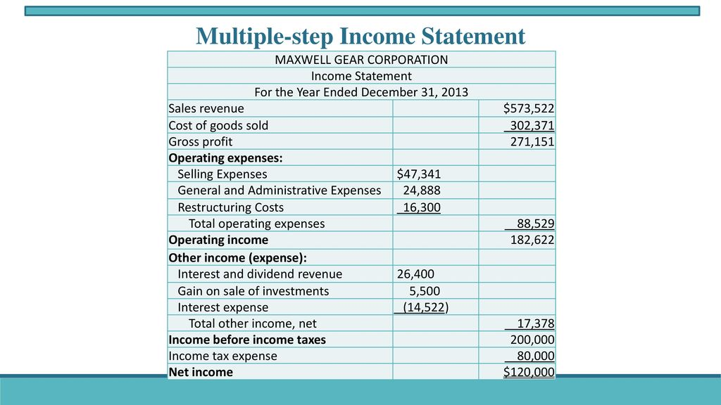 4 Multiple-step Income Statement