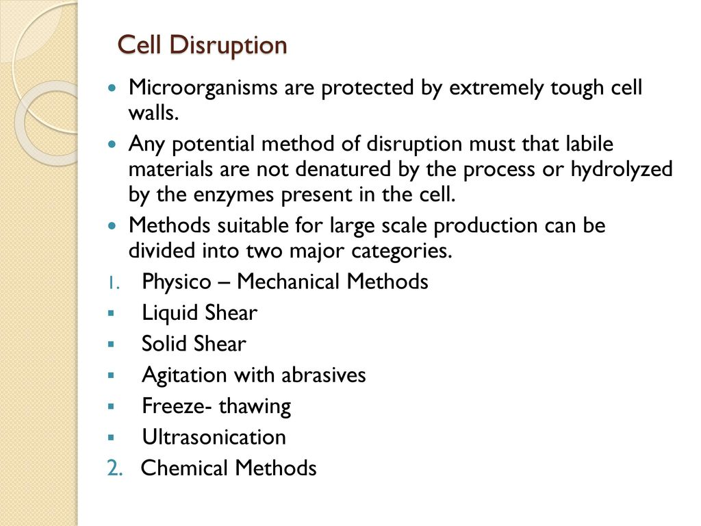TOPIC : Physical - Mechanical Methods of Cell Disruption