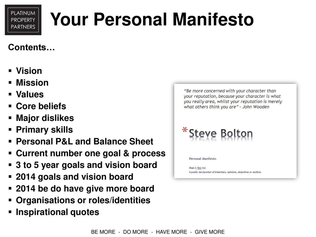 Your Personal Manifesto Ppt Download