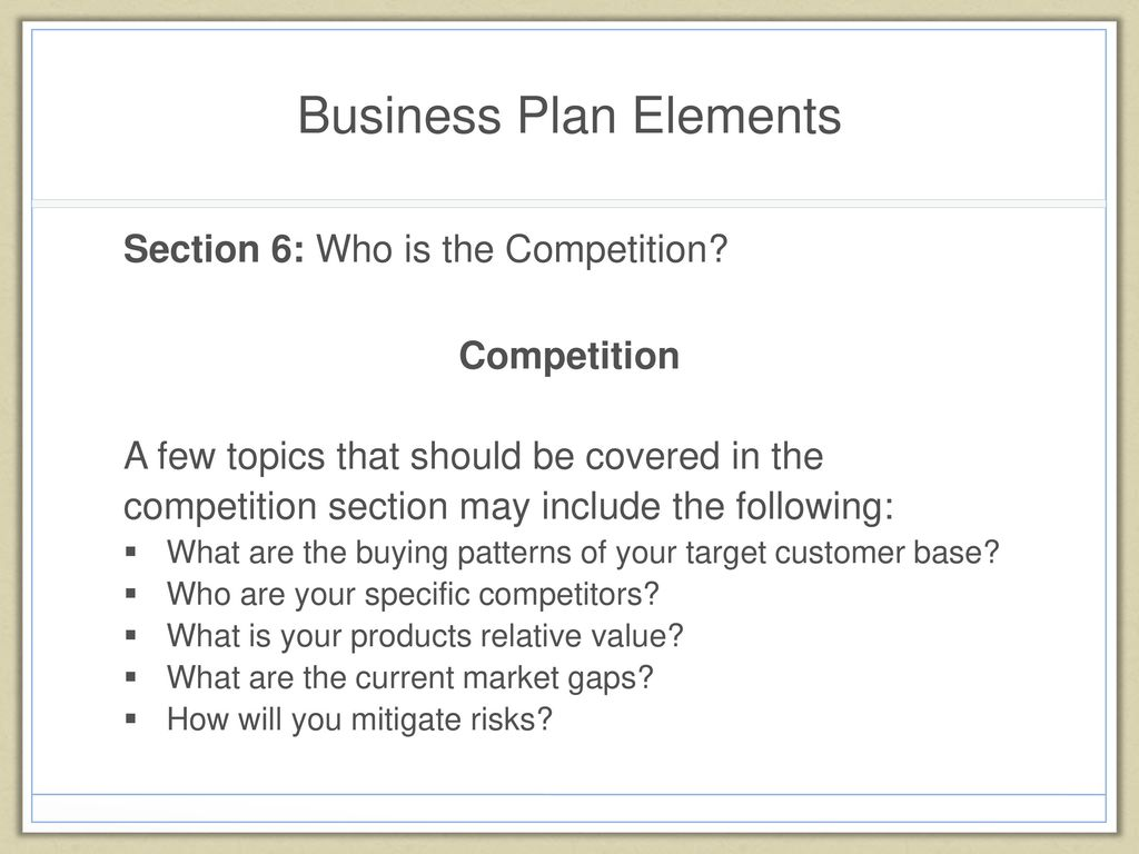 buying patterns business plan