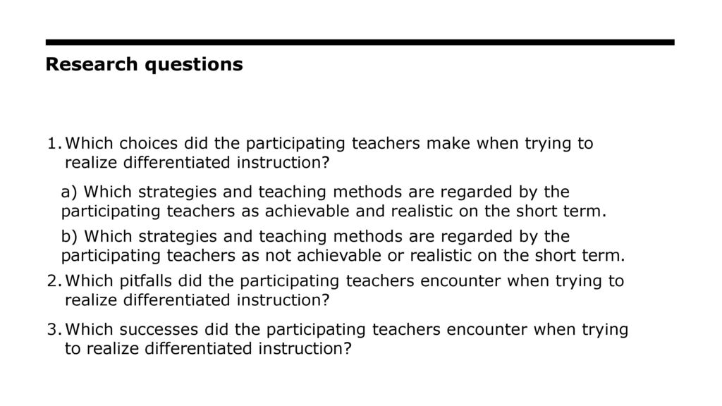 action research paper on differentiated instruction Moreover, a growing body of research shows positive results for full implementation of differentiated instruction in mixed-ability classrooms (rock, gregg, ellis, & gable, 2008) in one three-year study, canadian scholars researched the application and effects of differentiated instruction in k–12 classrooms in alberta.