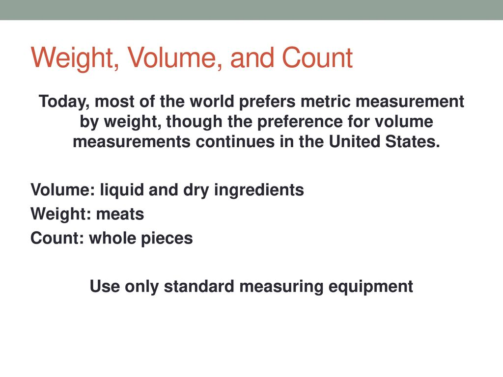 Measurement Cooking is an art as well as a science. Before you can ...