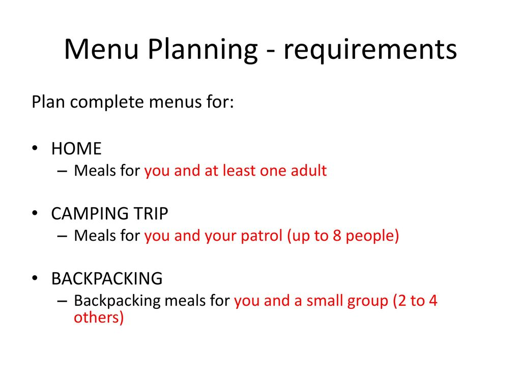 menu planning requirements 5 6 and 7 ppt download