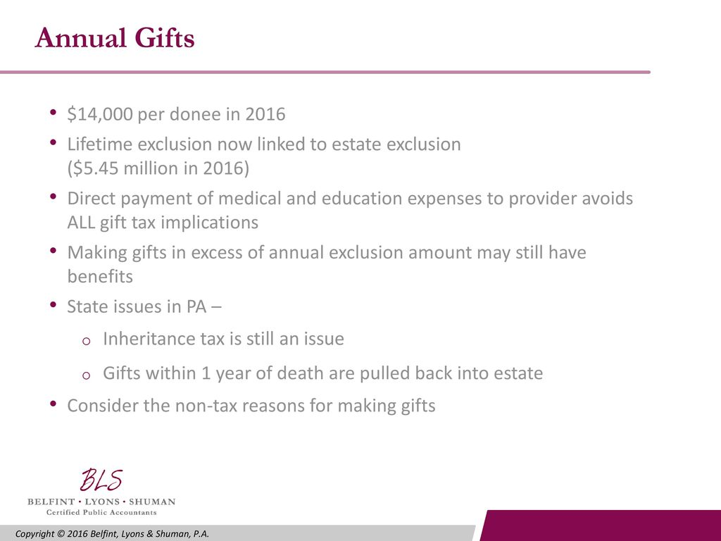Annual Gifts $14,000 per donee in 2016