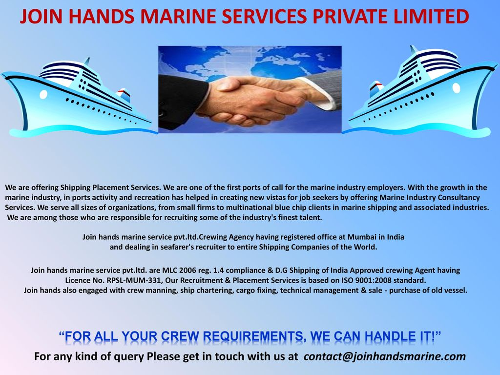 JOIN HANDS MARINE SERVICES PVT LTD  - ppt download