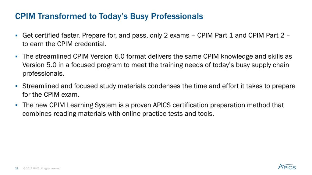 Apics Certified In Production And Inventory Management Cpim Ppt