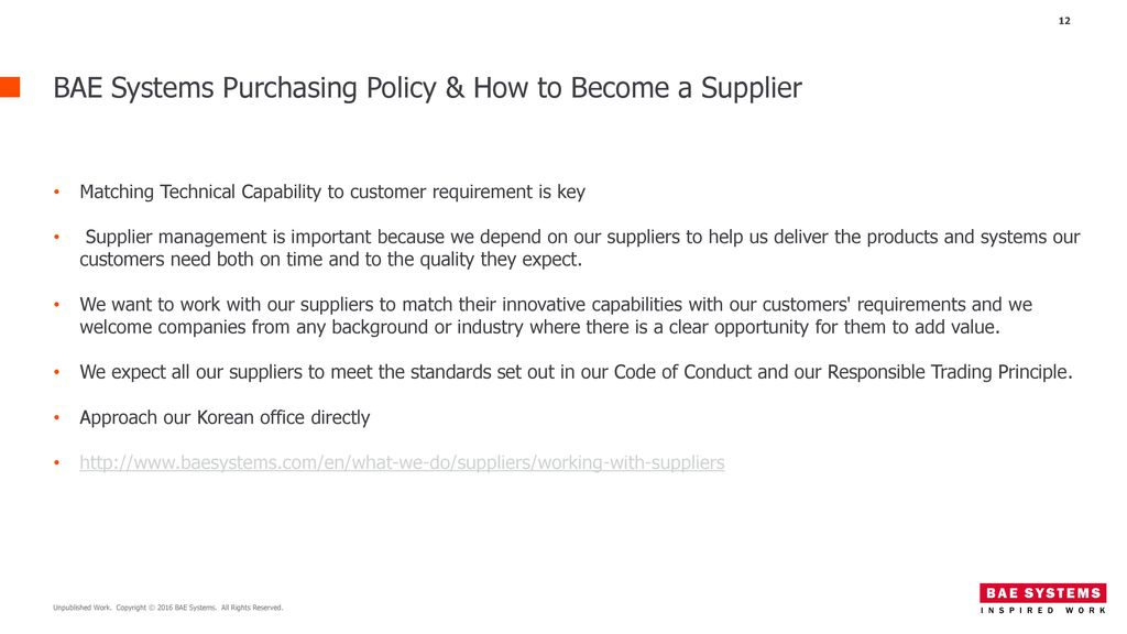 BAE Systems Purchasing Policy & How to Become a Supplier