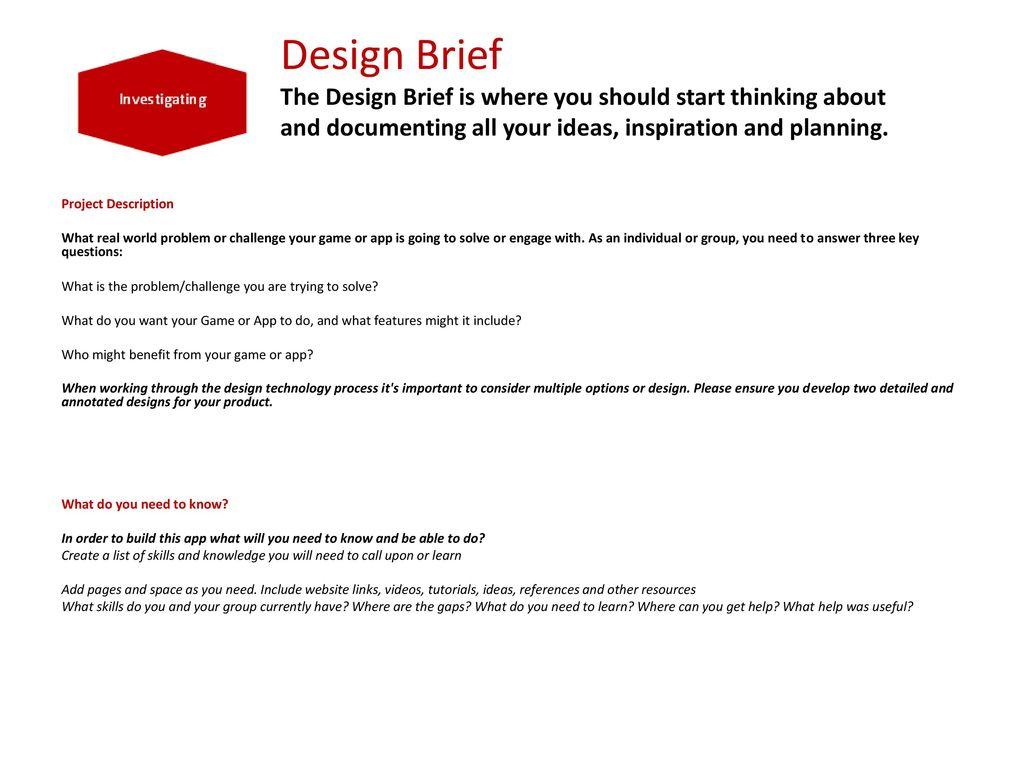 The Victorian Games Apps Challenge Design Brief PowerPoint Ppt - Game design brief