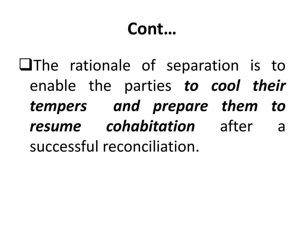 After successful separation reconciliation Odds of