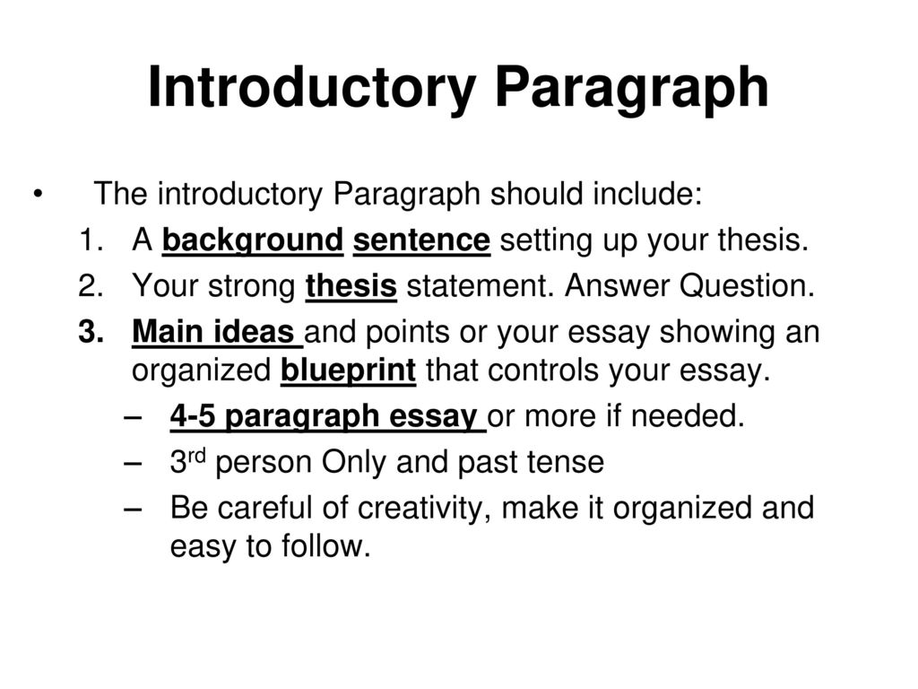 introductory paragraph and thesis The introductory paragraph and thesis statement define the topic and primary argument or position of your essay in a strong, specific and compelling way often times the introductory paragraph and thesis statement are the last part of your essay you write.