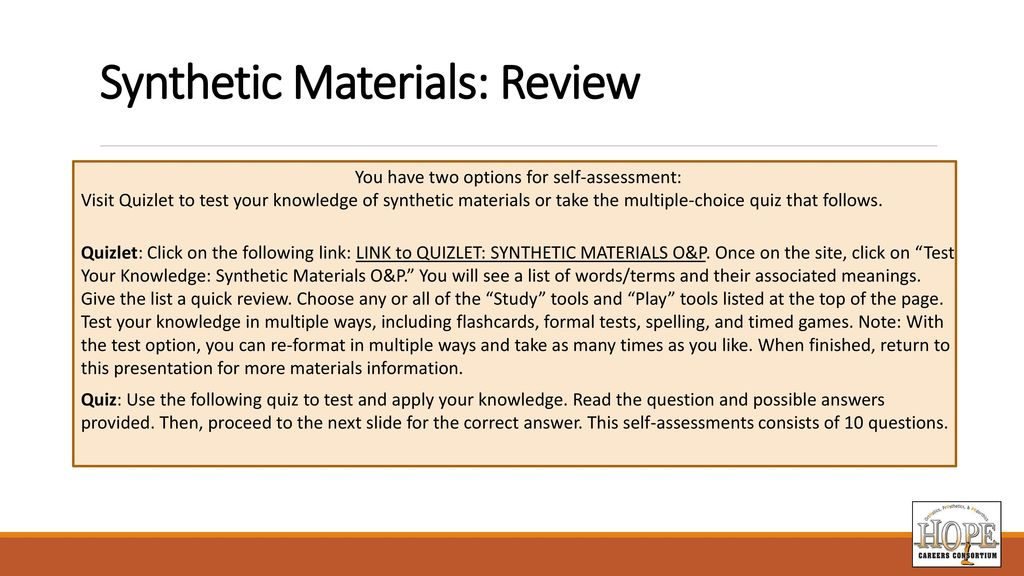 Materials for Orthotic and Prosthetic Applications - ppt
