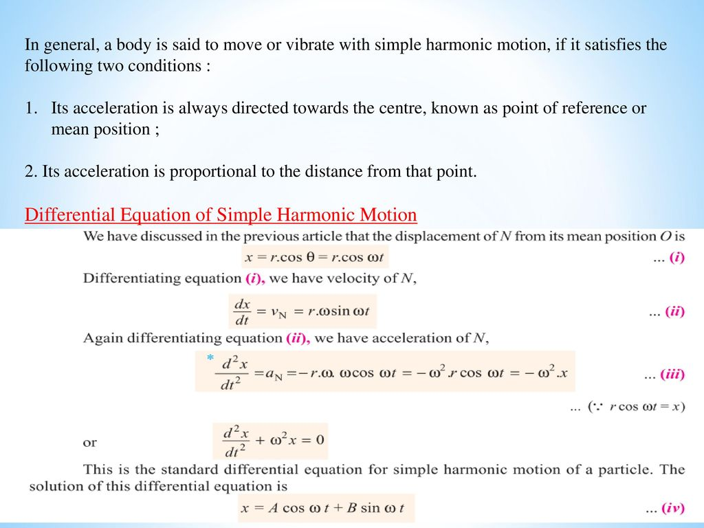 Simple Harmonic Motion - ppt video online download