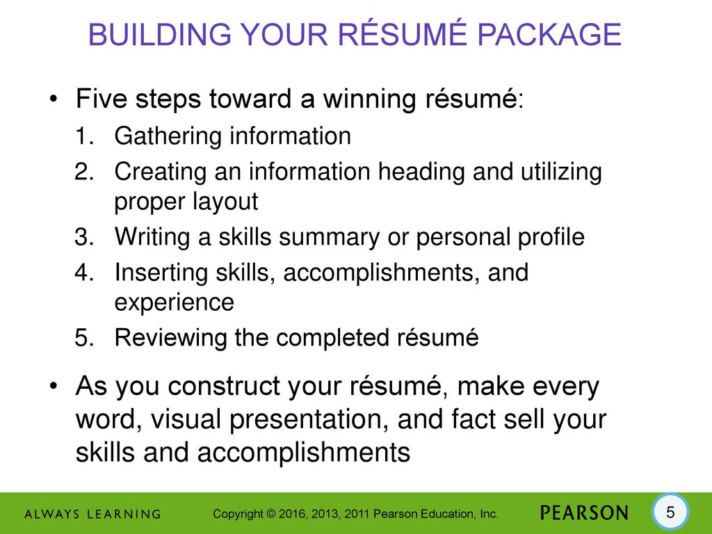 14 Résumé Package. - ppt download