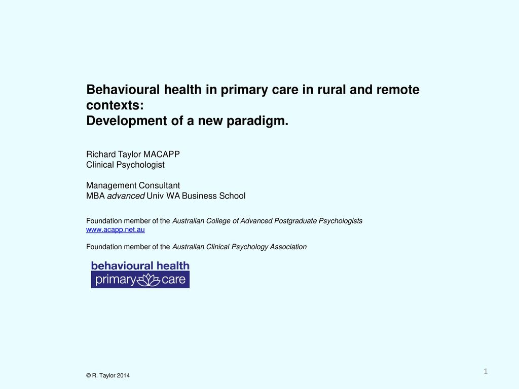 Behavioural Health In Primary Care In Rural And Remote Contexts Ppt Download