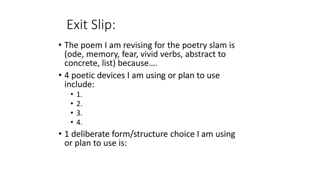 Warm-Up: Poetry: Structure/Form - ppt video online download