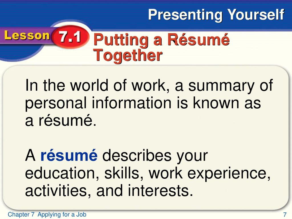 Applying for a Job Presenting Yourself - ppt download
