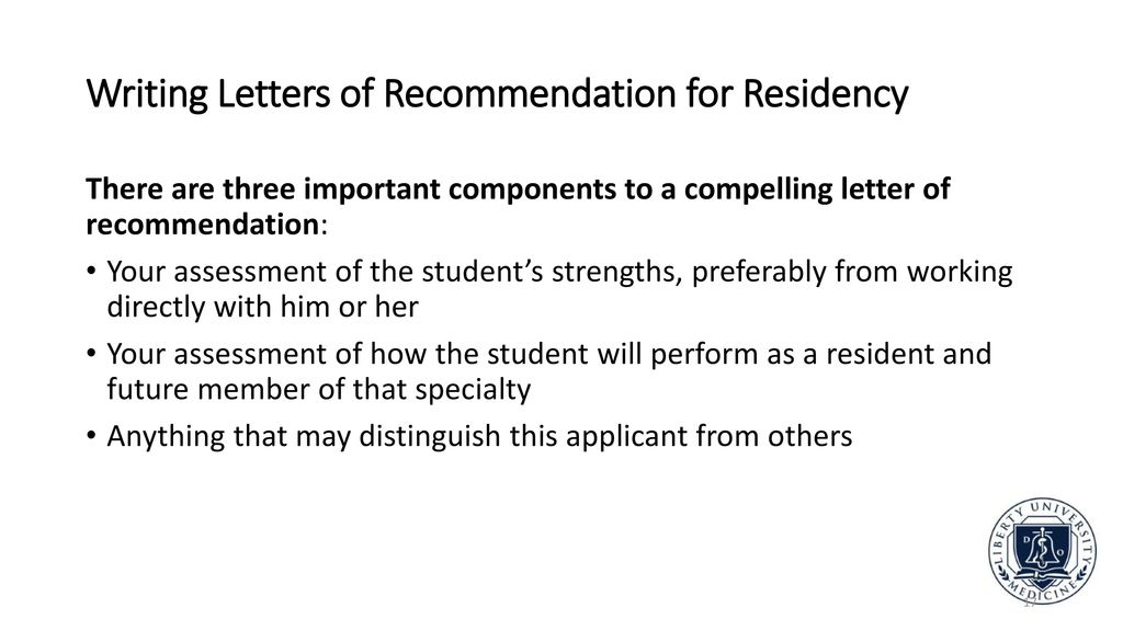 writing letters of recommendation for residency