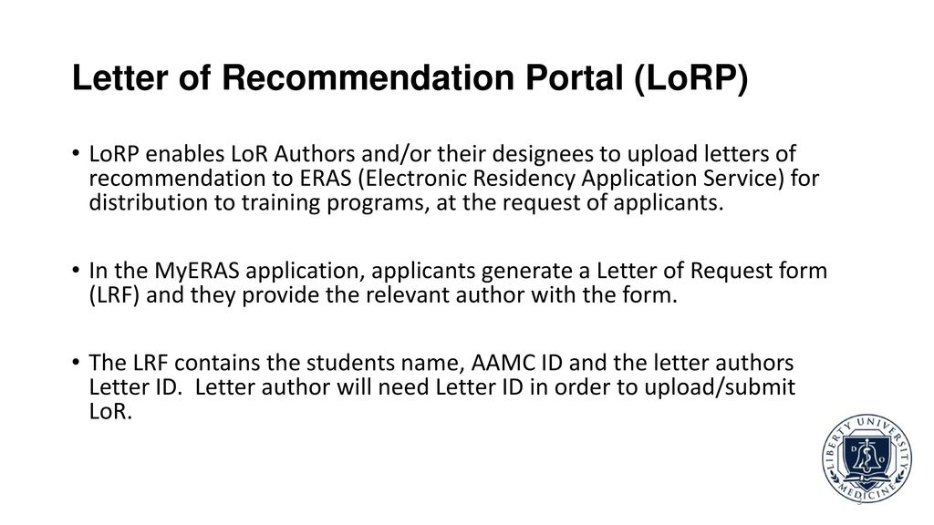 ERAS Letter of Recommendation (LoR) and LoR Author Support