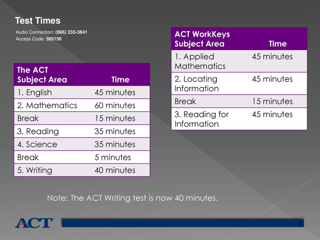 3 Test Times ACT WorkKeys ...