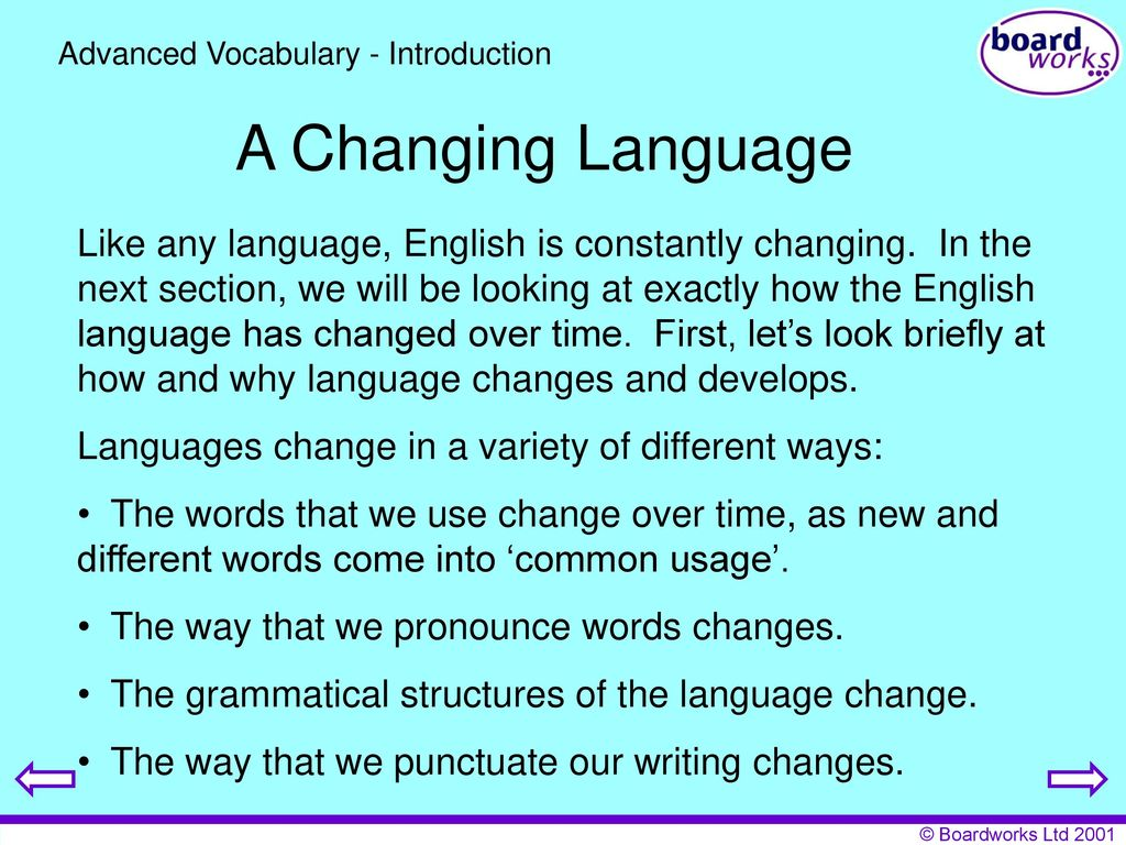 how the english language has changed over time