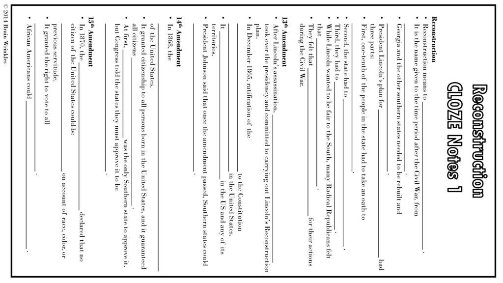 Reconstruction Amendments Worksheet - Checks Worksheet