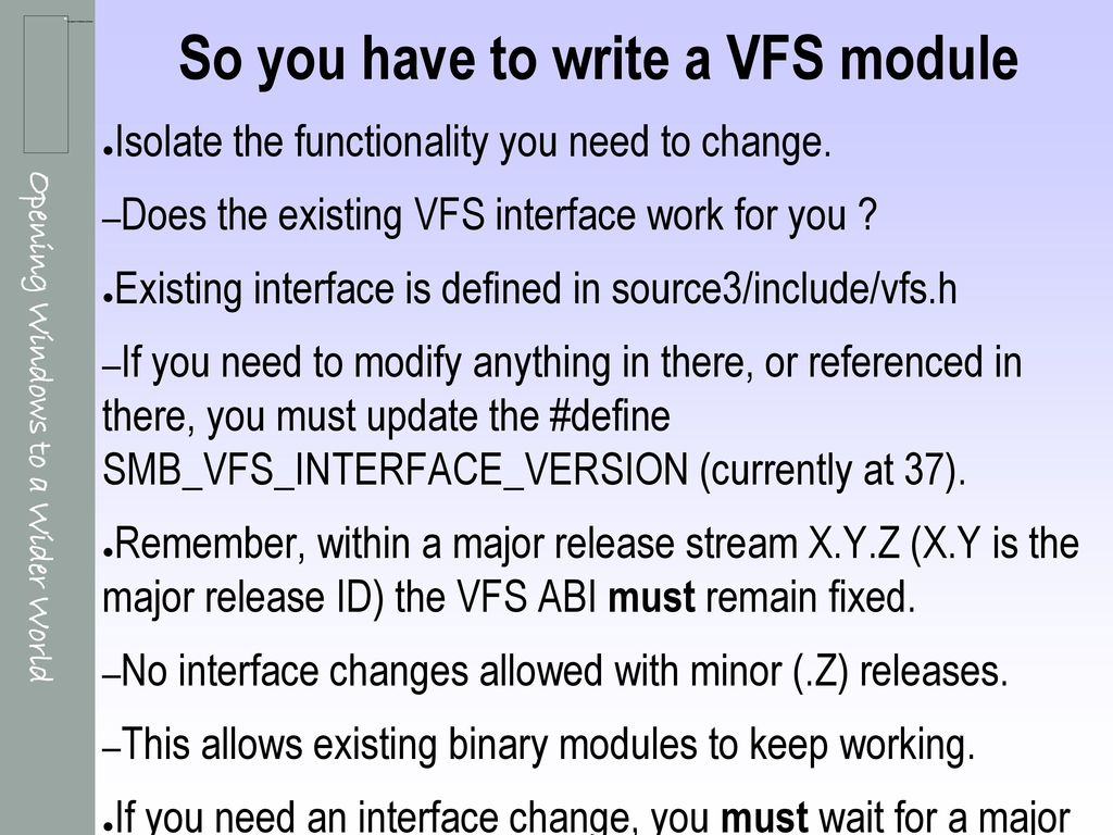 How to write a Samba VFS module - ppt download