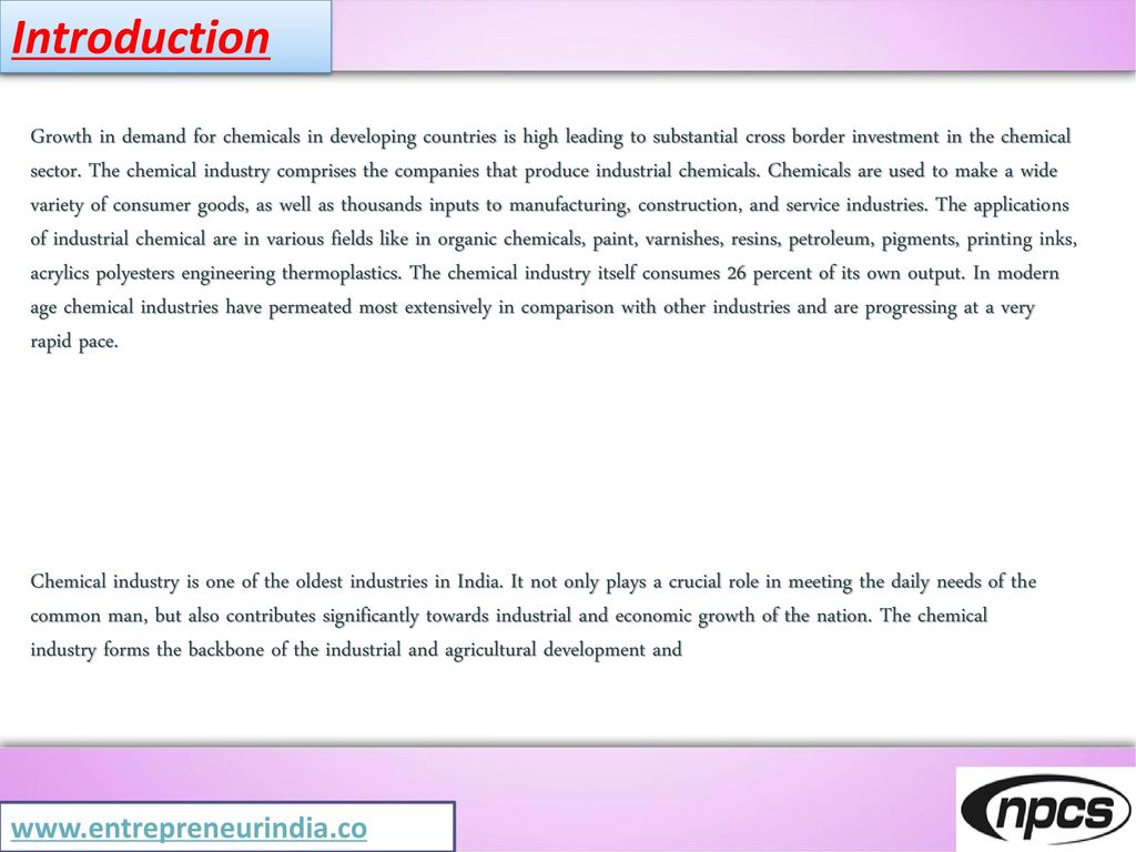Industrial Chemicals Manufacturing - ppt download