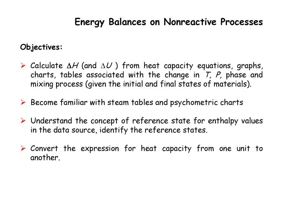 Balances On Nonreactive Processes Ppt Download
