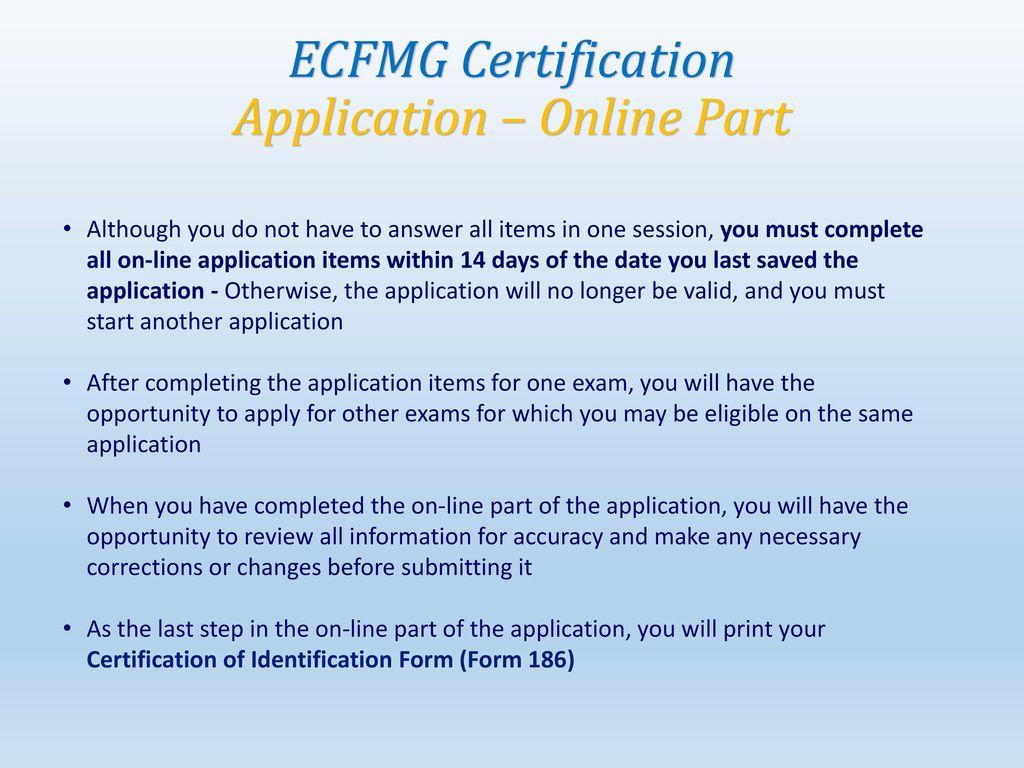 how to get ecfmg certificate