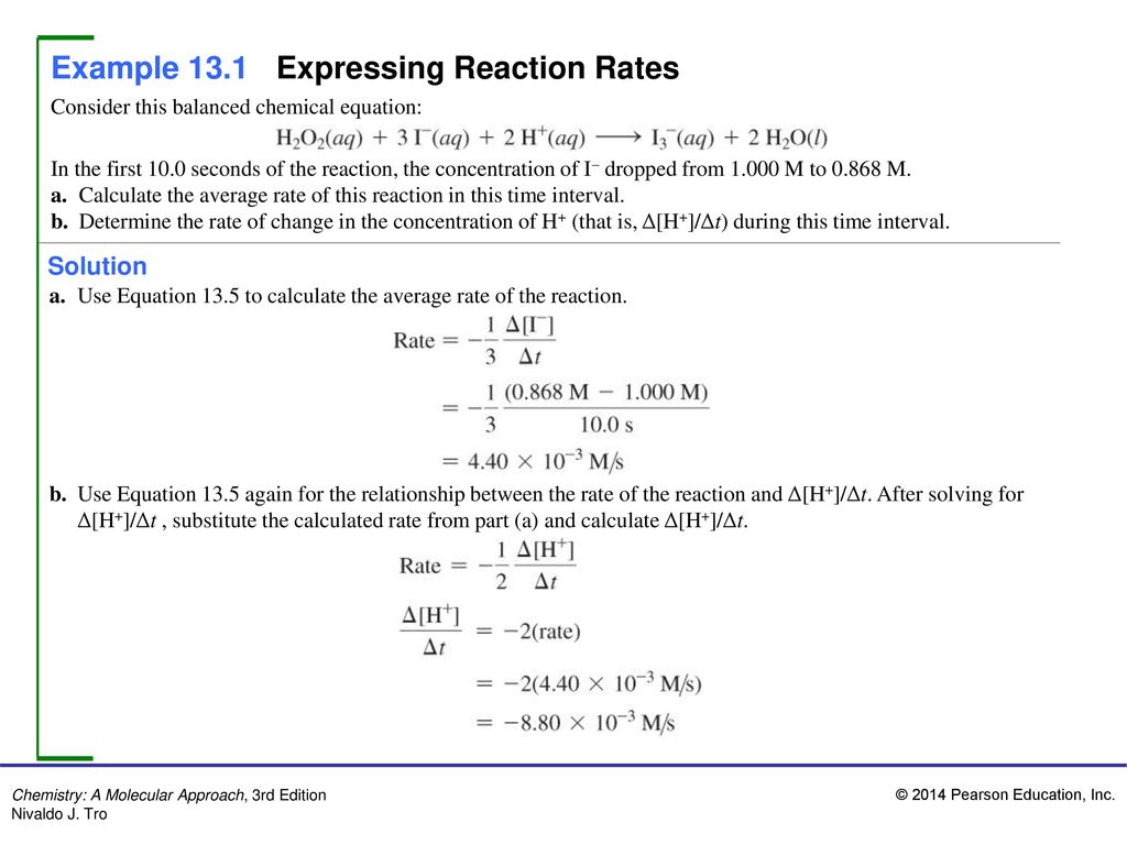 example 13.1 expressing reaction rates - ppt download