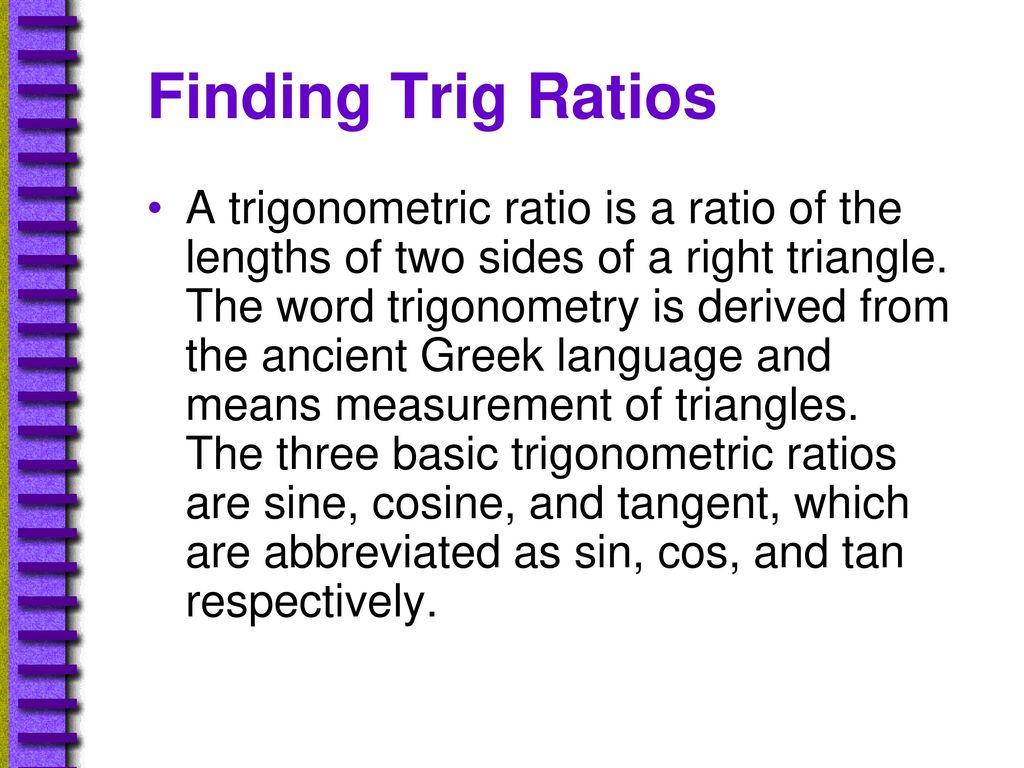 9 5 Trigonometric Ratios Geometry  - ppt download